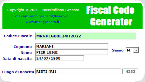 Fiscal Code Generator